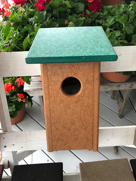 Green and cedar poly bluebird house